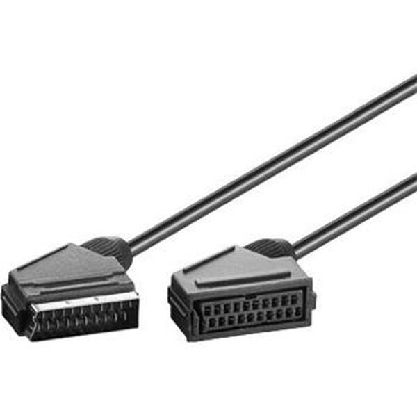 PremiumCord Kabel SCART-SCART 2m M/F prodlužka - kjssmf-2 Černá