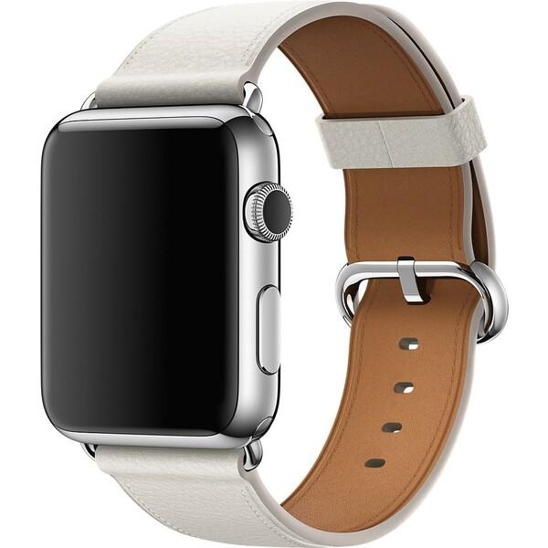 Apple Watch kožený řemínek s klasickou přezkou 42mm bílý