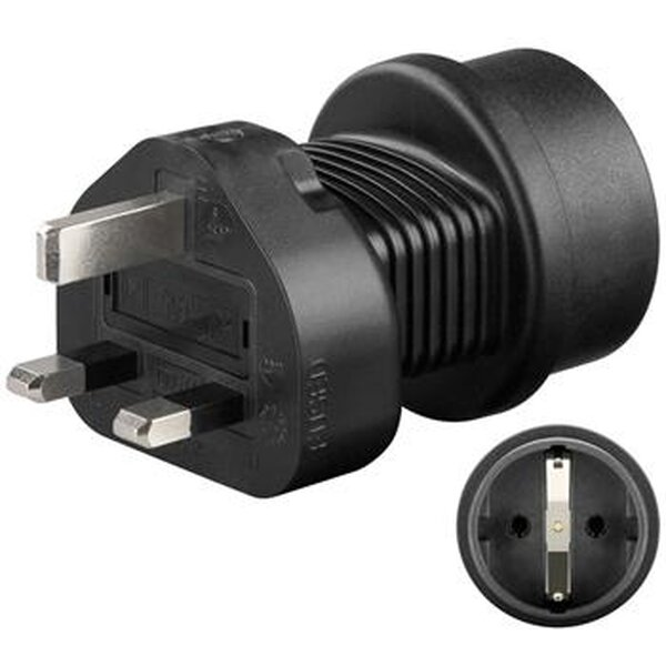 goobay Cestovní adaptér pro UK zásuvku a spotřebiče s českou zástrčkou - ppadapter-79 Černá