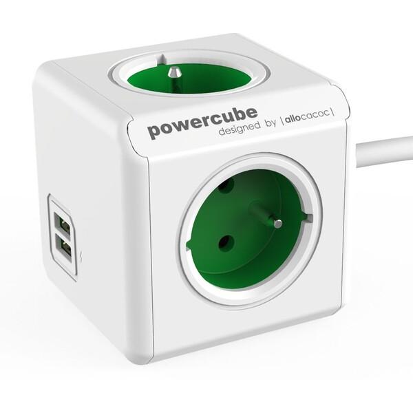 PowerCube Extended USB zásuvka zelená