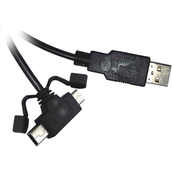 PremiumCord Kabel USB 2.0 A - microUSB/miniUSB 5pin 2m (F/F) ku2m2y Černá