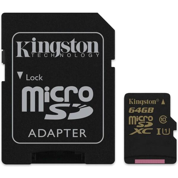 Kingston microSDXC 64GB UHS-I + adaptér SDCA10/64GB Černá