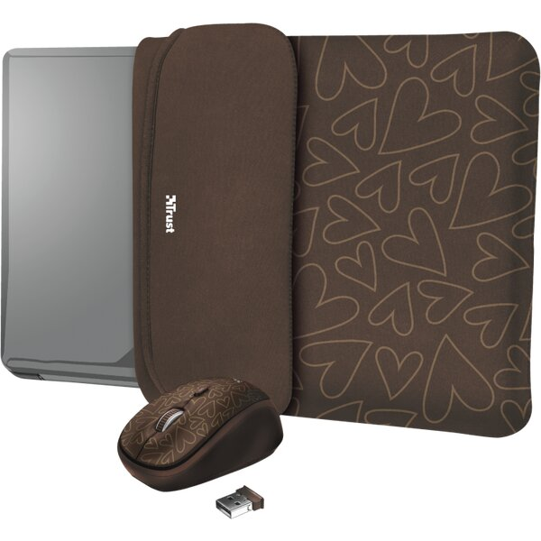 """Trust myš + obal na notebook Yvo Reversible 15.6"""" hnědá srdce"""