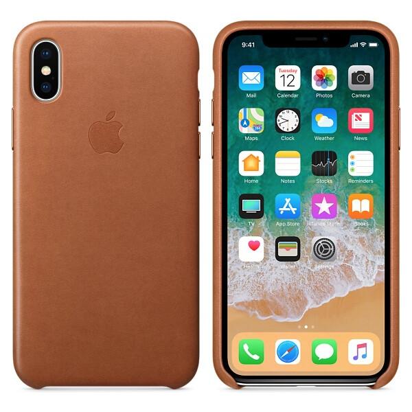 Pouzdro Apple kožené iPhone X sedlově hnědé Sedlově hnědá