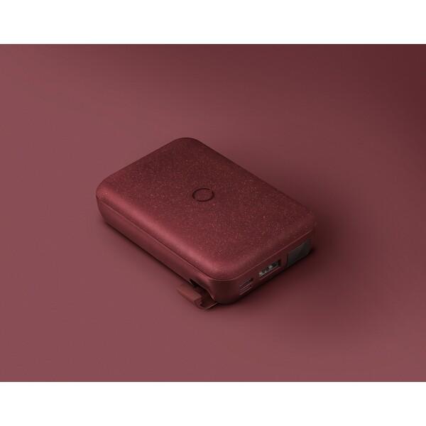 UNIQ HYDE AIR USB-C 18W PD powerbanka s bezdrátovým nabíjením 10000mAh vínová