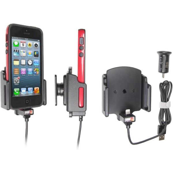 Brodit držák do auta na Apple iPhone 5/5S/5C/SE v pouzdru,nastavitelný, s nab. z cig. zapalovače/USB Černá