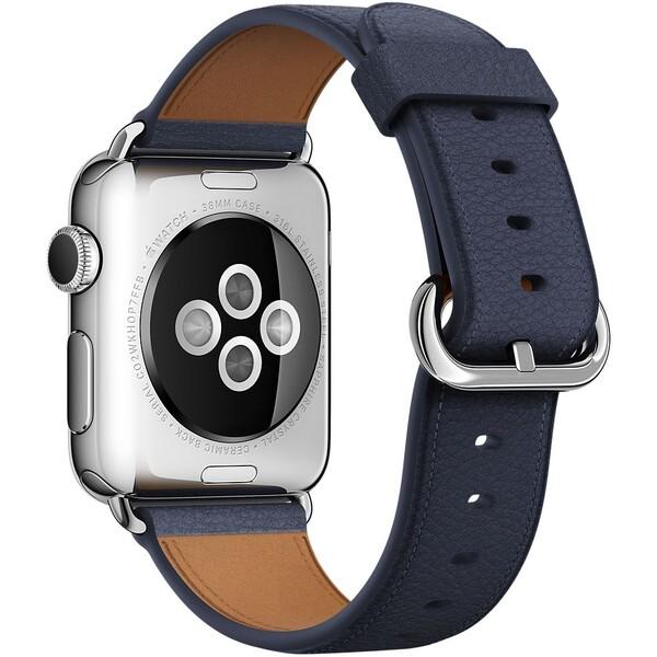 Apple Watch kožený řemínek s klasickou přezkou 38mm půlnočně modrý