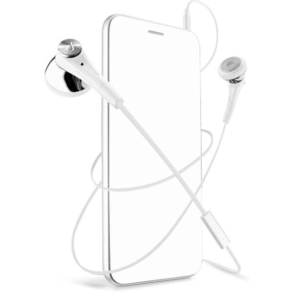 CellularLine FIREFLY sluchátka plochý kabel bílé