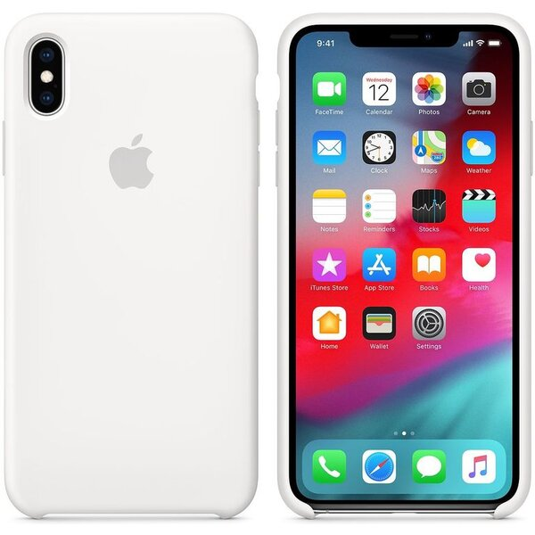 Pouzdro Apple silikonové iPhone XS Max bílé Bílá