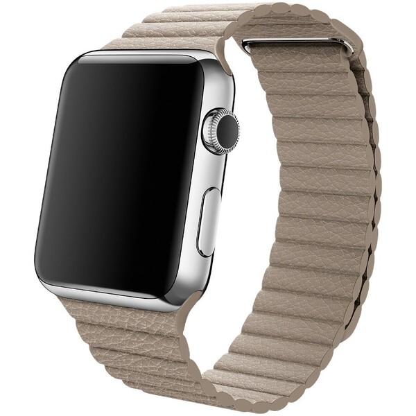 Apple Watch kožený řemínek 42mm L kamenně šedý