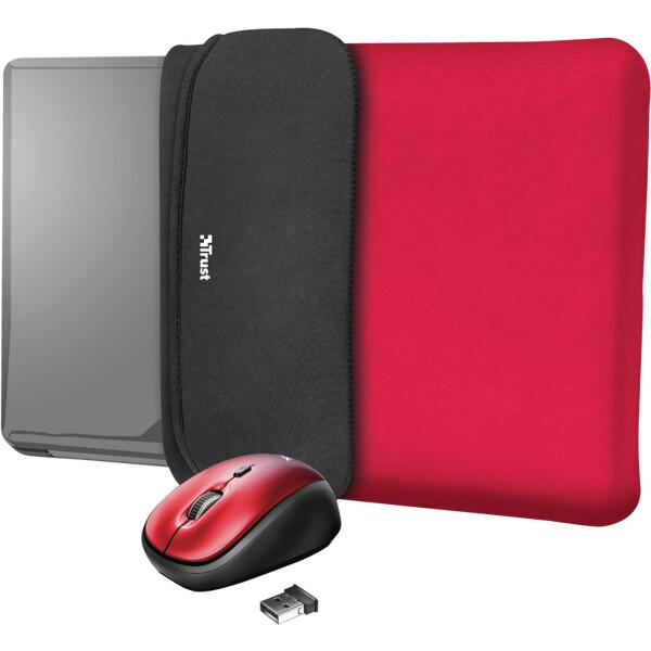 """Trust myš + obal na notebook Yvo Reversible 15.6"""" červený"""