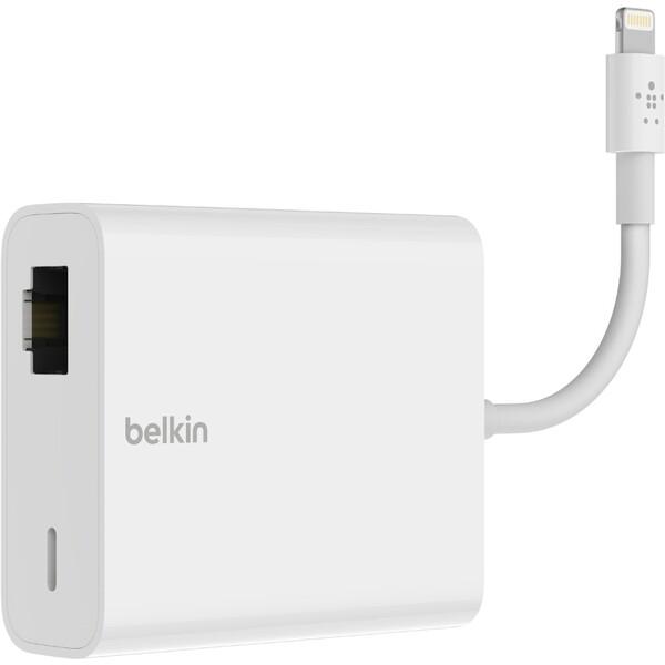 Belkin Lightning adaptér Ethernet (RJ45) + Lighting pro nabíjení bílý