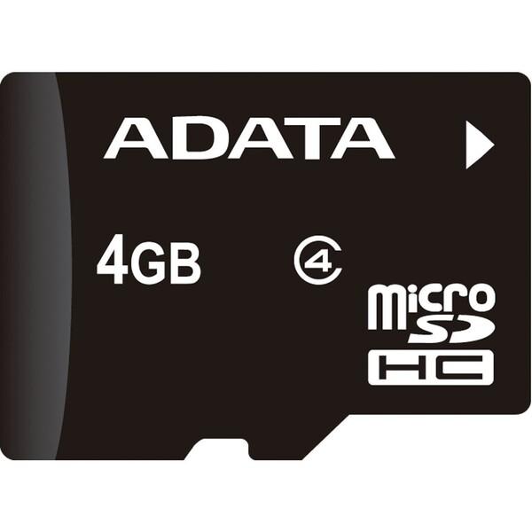 ADATA microSDHC 4GB Class 4 + adaptér AUSDH4GCL4-RA1 Černá