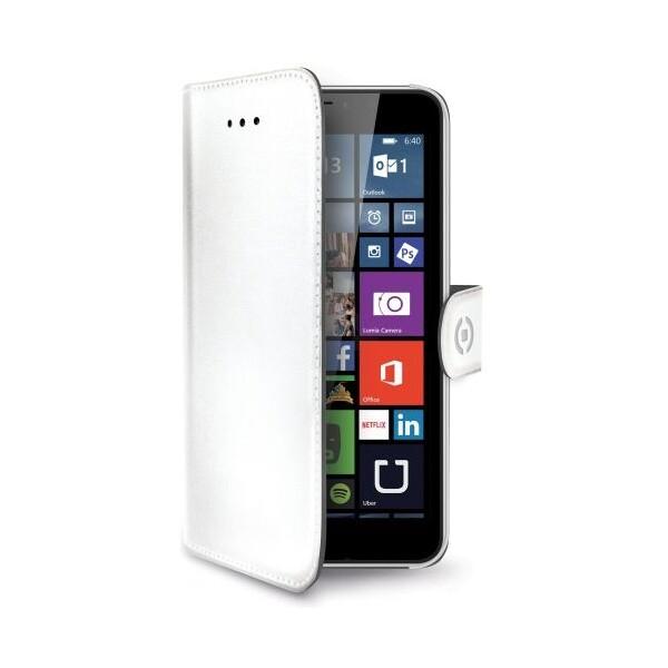 CELLY Wally pouzdro typu kniha Microsoft Lumia 640 XL PU kůže bílé