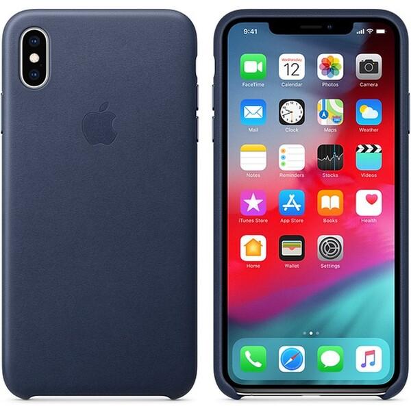Apple kožené pouzdro iPhone XS Max půlnočně modré