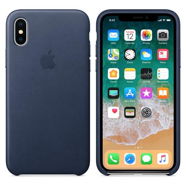 Pouzdro Apple kožené iPhone X půlnočně modré Půlnočně modrá