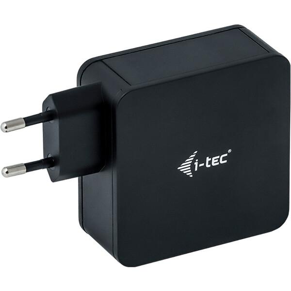 i-tec síťový adaptér USB-C 60W + USB-A 12W černý