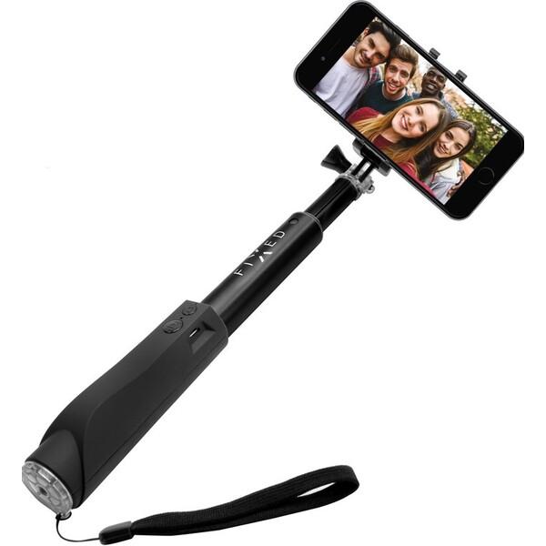 FIXED Bluetooth teleskopická selfie tyč se spouští černá