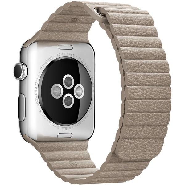 Apple Watch kožený řemínek 42mm M kamenně šedý