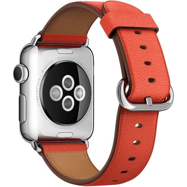 Apple Watch kožený řemínek s klasickou přezkou 38mm červený
