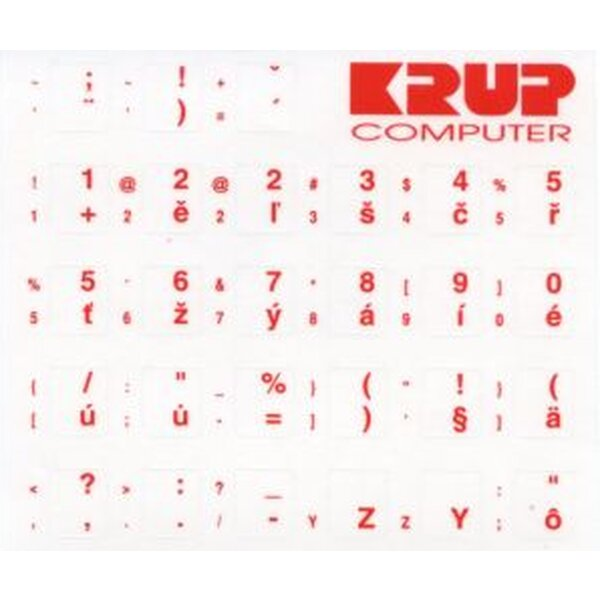 polepky na klávesnice CZ - červené (PKCZR) Bílá