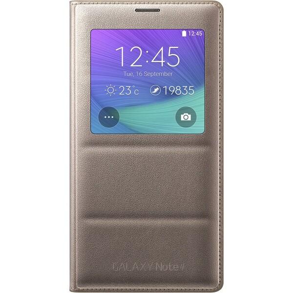 Samsung EF-CN910BE flip S-View pouzdro Galaxy Note 4 zlaté