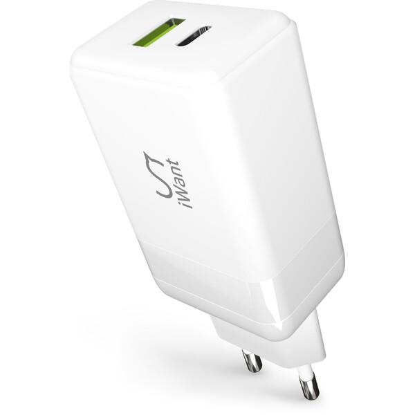 iWant duální GaN síťová MacBook / iPhone nabíječka 65W bílá