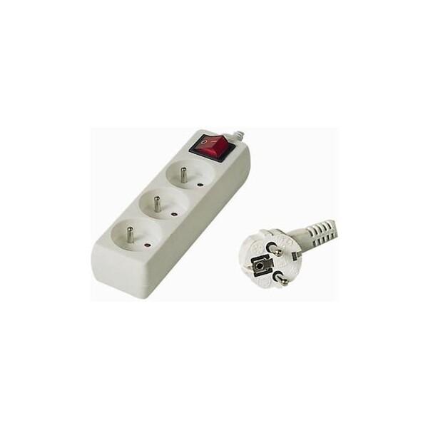 Prodlužovací kabel 2m 3 zásuvky vypínač Bílá