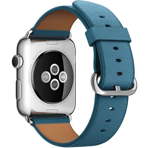 Apple Watch kožený řemínek s klasickou přezkou 42mm námořně modrý