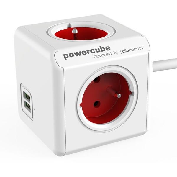 PowerCube Extended USB zásuvka červená