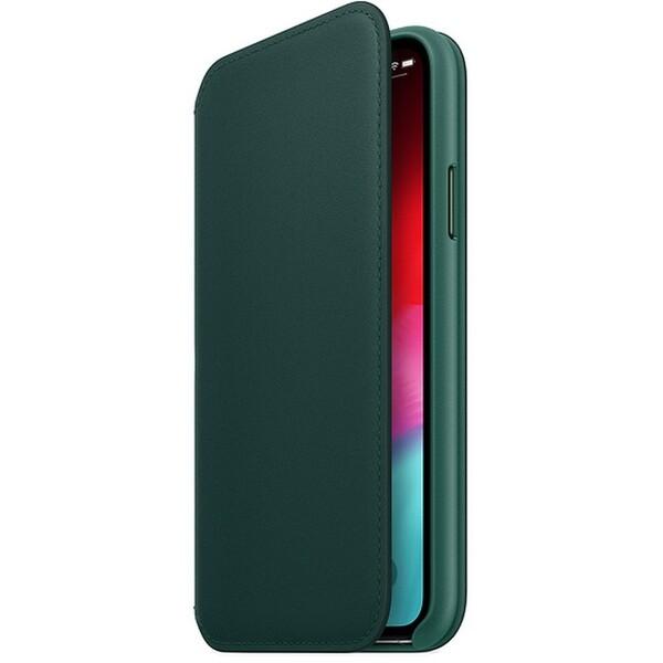 Pouzdro Apple kožené Folio iPhone XS piniově zelené Piniově zelená