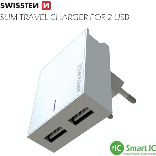 SWISSTEN síťový adaptér 2xUSB, 3A bílý + kabel USB/Lightning