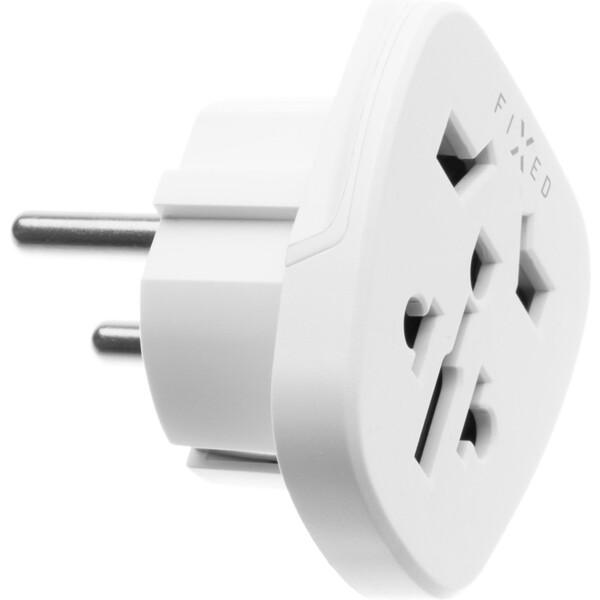 FIXED EU adaptér (UK, US, AUS) nabíječek do EU zásuvek bílý