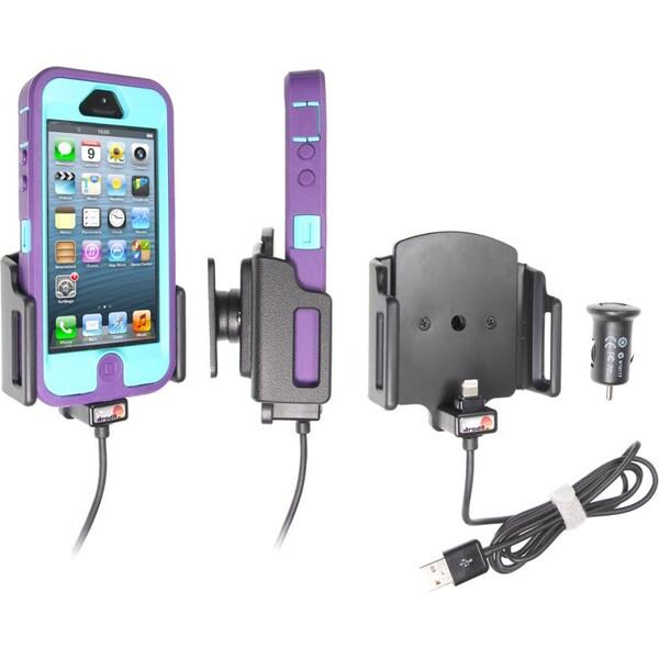 Brodit držák do auta na Apple iPhone 5/5S/5C/SE v pouzdru,nastavitelný, s nab. z cig. zap. 521504 Černá