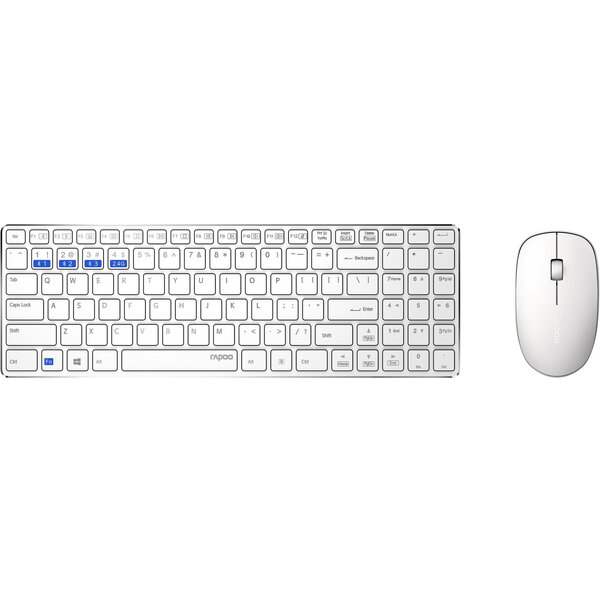 Rapoo 9300M Silent bezdrátový set, bílý