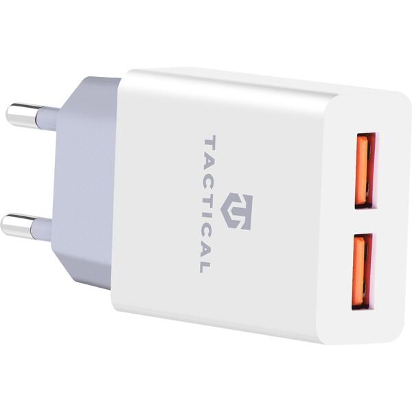 Tactical 2x USB-A cestovní nabíječka bílá