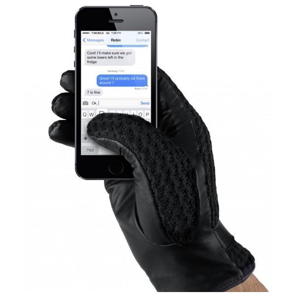 MUJJO Kožené háčkované dotykové rukavice pro SmartPhone (vel. 8) černé Černá