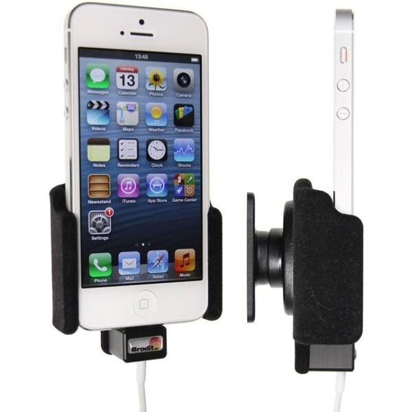 Brodit držák do auta pro iPhone 5/5S s průchodkou pro orig. kabel a sametovým povrchem